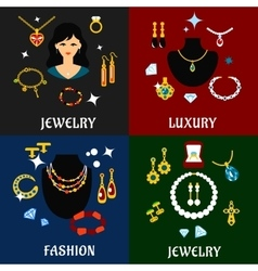 Jewelry and accessories flat icons vector image vector image