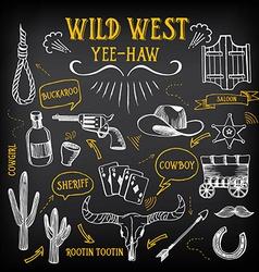 Wild west design sketch icons drawing vintage vector