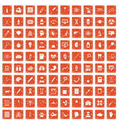 100 diagnostic icons set grunge orange vector