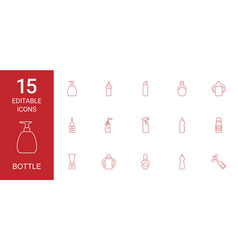 15 bottle icons vector