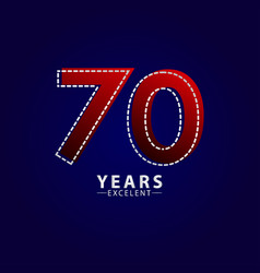 70 years excellent anniversary celebration red vector