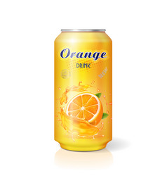 Aluminum can with fruit orange juice isolated vector