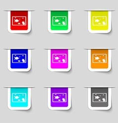 Aquarium Fish in water icon sign Set of vector