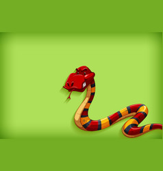 background template with plain color and red snake vector image