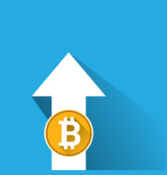 bitcoin growth graph on blue background vector image