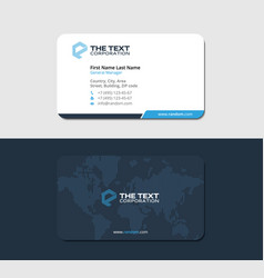 Blue corporate business card with global map vector