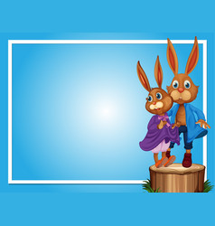 border template with two rabbits vector image