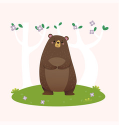 brown bear standing in forest vector image
