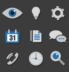 business icons in a flat on black background vector image