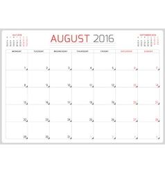 Calendar Planner 2016 Design Template August Week vector