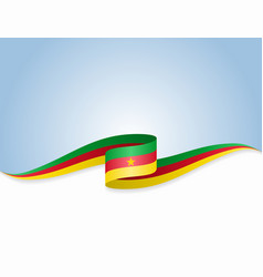 Cameroon flag wavy abstract background vector