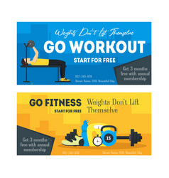 cartoon fitness sport banner card horizontal set vector image