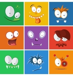 Cartoon funny faces with emotions Monsters vector