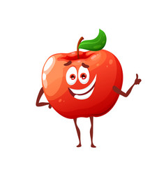 Cartoon raw red apple cute character vector