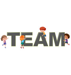 children with team logo vector image