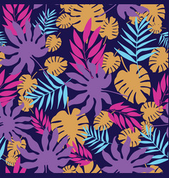 colorful tropical leaves seamless pattern vector image