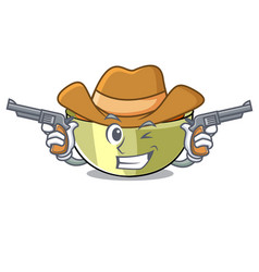 Cowboy lentil soup in a mascot bowl vector