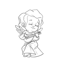 Cute baby angel making music playing lute vector image