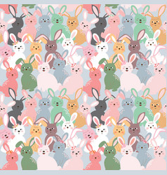 cute colorful rabbits seamless pattern on pastel vector image