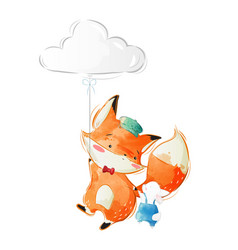 Cute fox and bunny flying with a cloud balloon vector
