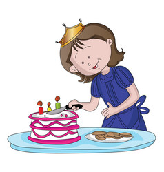 Cute girl cutting cake vector