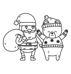 cute santa with bag and polar bear merry christmas vector image
