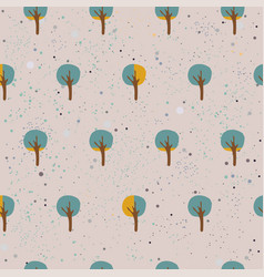 cute spring pattern with funky small trees and vector image
