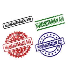 Damaged textured humanitarian aid stamp seals vector