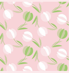 decorative tulip flower seamless pattern geometric vector image
