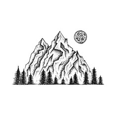 Dotwork mountain landscape vector