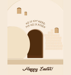 Easter holiday empty stone tomb vector