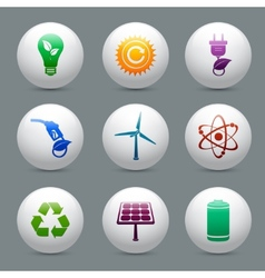 Energy and ecology buttons set vector image