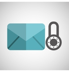 envelope message email padlock security icon vector image