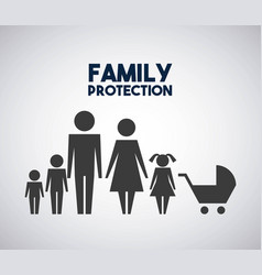 Family protection parents kids and baby pram vector