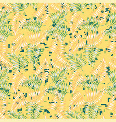 Fern foliage seamless yellow background vector