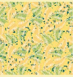 fern foliage seamless yellow background vector image