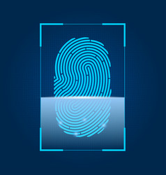 Fingerprint scanning concept of security digital vector