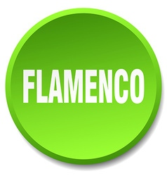 flamenco green round flat isolated push button vector image