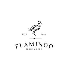 flamingo animal line logo vector image