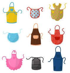 flat set of colorful kitchen aprons vector image