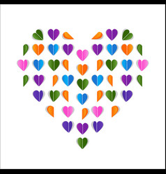 folded paper hearts valentines day card colorful vector image