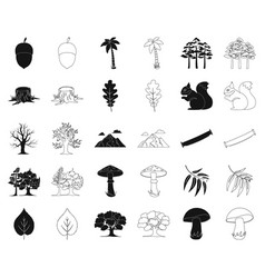 forest and nature blackoutline icons in set vector image