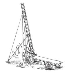 Four wheeled cart mount for ariel ladder vintage vector