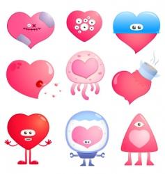 funny hearts vector image