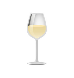 Glass of elite white wine classical alcohol drink vector