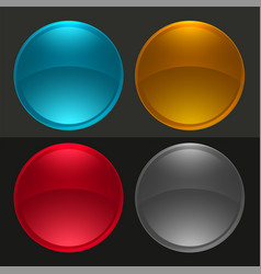 glossy round buttons or glass balls set vector image