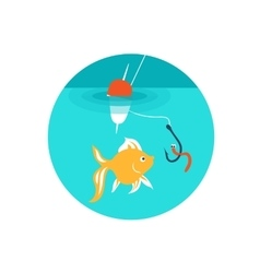 Gold fish on the hook vector