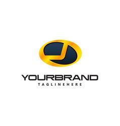 golden letter j logo curved oval shape auto guard vector image