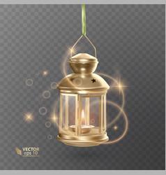 Golden vintage luminous lantern with lighting vector