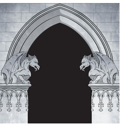 Gothic arch with gargoyles hand drawn frame vector